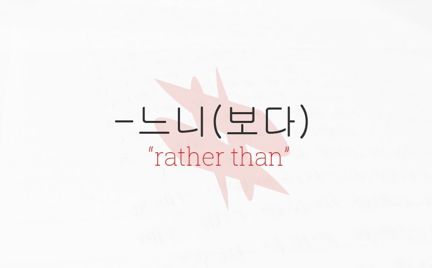 "-느니 Grammar Lesson - ""I would rather..."""