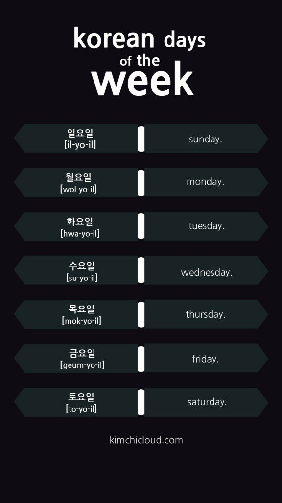 Korean Days Of The Week on Days Of The Week Worksheets